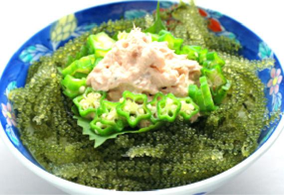 ツナマヨネーズと海ぶどう丼